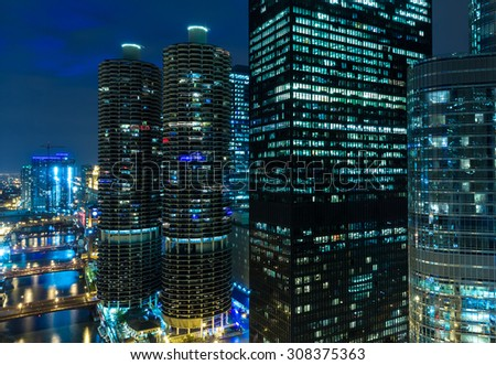 Chicago downtown at night in Illinois, USA - stock photo