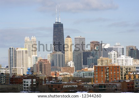 Chicago downtown seen from west side late afternoon - stock photo