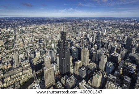 Chicago downtown skyscrapers overhead view - stock photo