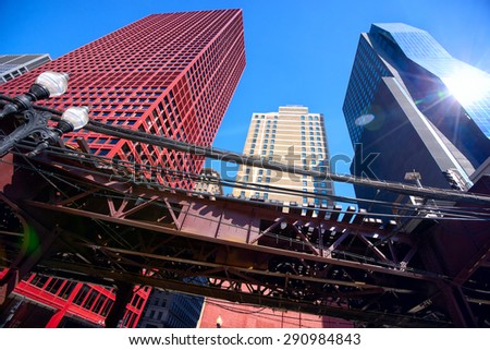 Chicago downtown urban skyscrapers and elevated rails, IL, United States - stock photo