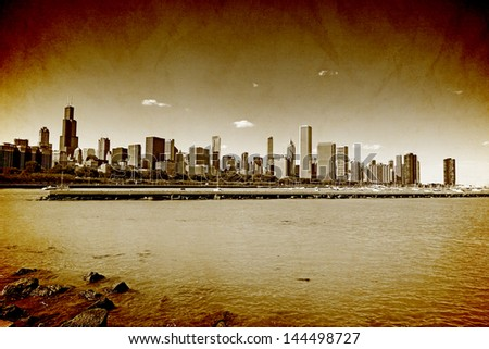 Chicago Downtown Vintage Style - stock photo
