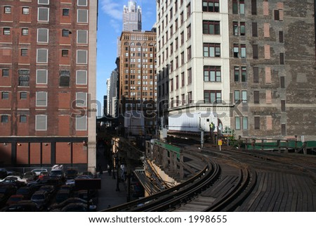 Chicago elevated train track near the loop downtown - stock photo