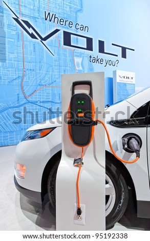 CHICAGO - FEB 9: A Chevrolet Volt charging station at the 2012 Chicago Auto Show Media Preview on February 9, 2012 in Chicago, Illinois. - stock photo