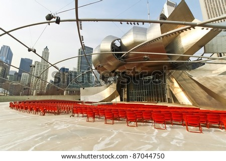CHICAGO - FEB 2: Jay Pritzker Pavilion an outdoor amphitheater on February 2, 2010 in Millennium Park, Chicago, Illinois. Designed by Frank O. Gehry, is the home of the Grant Park Symphony Orchestra - stock photo