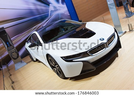 CHICAGO - FEBRUARY 7 :A BMW i8 at the Chicago Auto Show media preview February 7, 2014 in Chicago, Illinois. - stock photo