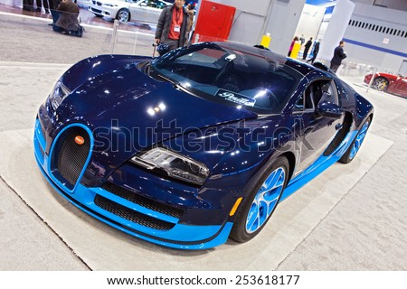 Chicago - February 13: A Bugati Veyron on display February 13th, 2015 at the 2015 Chicago Auto Show in Chicago, Illinois. - stock photo