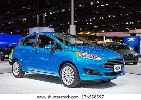 CHICAGO - FEBRUARY 6 : A Ford Foucus on display at the Chicago Auto Show media preview February 6, 2014 in Chicago, Illinois. - stock photo