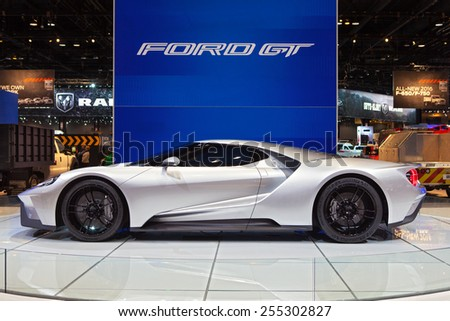 Chicago - February 13: A Ford GT supercar on display February 13th, 2015 at the 2015 Chicago Auto Show in Chicago, Illinois. - stock photo