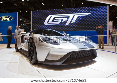 Chicago - February 12: A Ford GT supercar on display February 12th, 2015 at the 2015 Chicago Auto Show in Chicago, Illinois. - stock photo