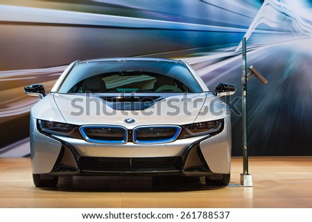 Chicago - February 12: A front view of the BMW i8 February 12th, 2015 at the 2015 Chicago Auto Show in Chicago, Illinois. - stock photo
