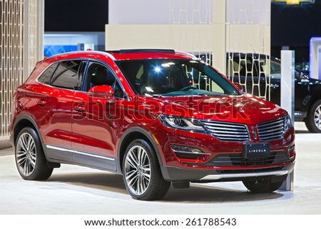 Chicago - February 12: A Lincoln MKX on display February 12th, 2015 at the 2015 Chicago Auto Show in Chicago, Illinois. - stock photo