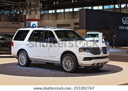Chicago - February 12: A Lincoln Navigator on display February 12th, 2015 at the 2015 Chicago Auto Show in Chicago, Illinois. - stock photo