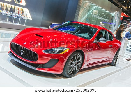 Chicago - February 13: A Maserati Granturismo on display February 13th, 2015 at the 2015 Chicago Auto Show in Chicago, Illinois. - stock photo