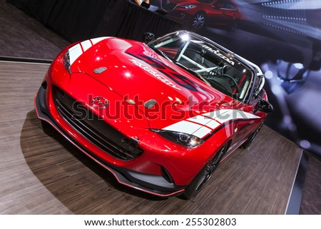 Chicago - February 13: A Mazda Miata race car on display February 13th, 2015 at the 2015 Chicago Auto Show in Chicago, Illinois. - stock photo