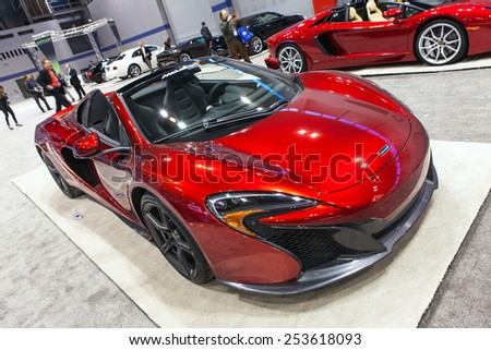 Chicago - February 13: A McClaren P90 on display February 13th, 2015 at the 2015 Chicago Auto Show in Chicago, Illinois. - stock photo