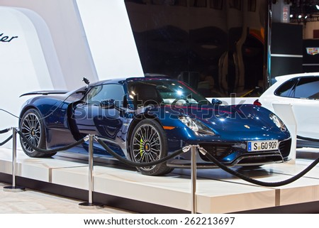 Chicago - February 12: A Porsche 918 Spyder Hybrid on display February 12th, 2015 at the 2015 Chicago Auto Show in Chicago, Illinois. - stock photo