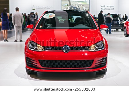 Chicago - February 13: A Volkswagen Golf on display February 13th, 2015 at the 2015 Chicago Auto Show in Chicago, Illinois. - stock photo