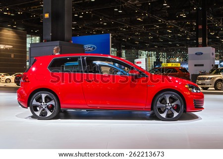 Chicago - February 12: A Volkswagen Golf on display February 12th, 2015 at the 2015 Chicago Auto Show in Chicago, Illinois. - stock photo