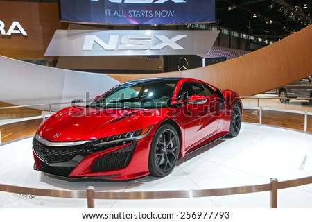 Chicago - February 13: An Acura NSX on display February 13th, 2015 at the 2015 Chicago Auto Show in Chicago, Illinois. - stock photo