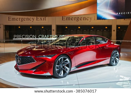 CHICAGO - February 11: The Acura Precision Concept on display at the Chicago Auto Show media preview February 11, 2016 in Chicago, Illinois. - stock photo