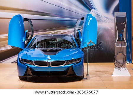 CHICAGO - February 11: The BMW i8 on display at the Chicago Auto Show media preview February 11, 2016 in Chicago, Illinois. - stock photo