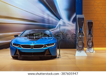CHICAGO - February 12: The 2017 BMW i8 on display at the Chicago Auto Show media preview February 12, 2016 in Chicago, Illinois. - stock photo