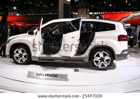 CHICAGO-FEBRUARY 18: The Chevrolet Orlando concept is a compact, seven-seat multi-purpose vehicle with the versatile attributes of a sport-utility displayed at the Autoshow 2009 on February 18, 2009 in Chicago - stock photo
