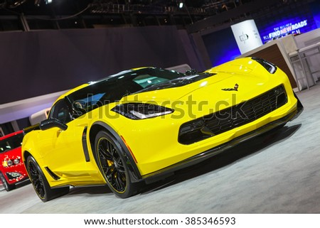 CHICAGO - February 11: The 2017 Corvette Z06 on display at the Chicago Auto Show media preview February 11, 2016 in Chicago, Illinois. - stock photo