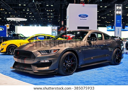 CHICAGO - February 11: The 2017 Ford Shelby Cobra Mustang on display at the Chicago Auto Show media preview February 11, 2016 in Chicago, Illinois. - stock photo