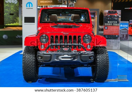 CHICAGO - February 12: The Jeep Wrangler Red Rock concept on display at the Chicago Auto Show media preview February 12, 2016 in Chicago, Illinois. - stock photo