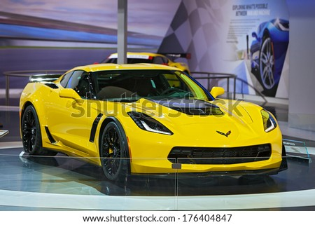 CHICAGO - FEBRUARY 7 : The new 2015 Chevrolet Corvette Z06 on display at the Chicago Auto Show media preview February 7, 2014 in Chicago, Illinois. - stock photo