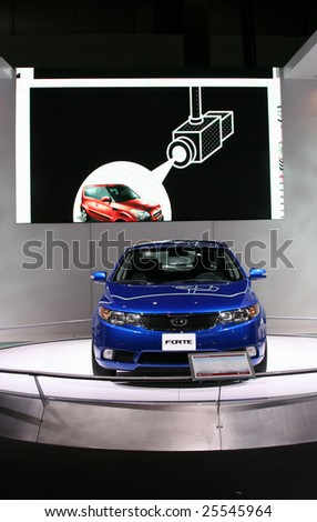 CHICAGO, FEBRUARY 18, 2009: The new 2010 Kia Forte is is available in three trim levels, LX, EX and SX. Kia introduced it at the 2009 Chicago Auto Show. - stock photo