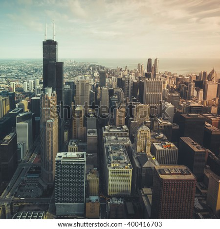 Chicago financial district- aerial view with desaturated colors - stock photo