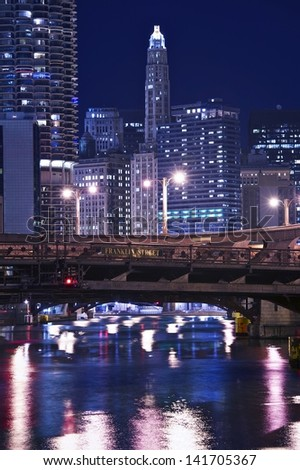 Chicago Franklin Bridge - Chicago Downtown at Night. Vertical Chicago Photography. - stock photo