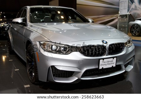 CHICAGO, IL - FEBRUARY 15: BMW 2 SERIES COUPE at the annual International auto-show, February 15, 2015 in Chicago, IL - stock photo