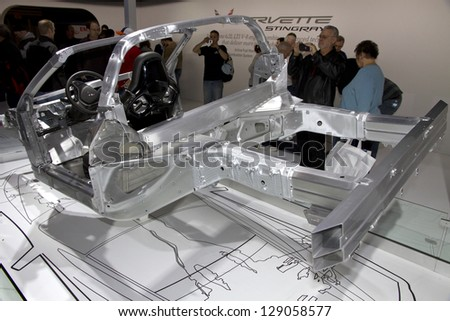 CHICAGO, IL - FEBRUARY 16: Chassis of Chevy Corvette 2014 at the annual International auto-show, February 16, 2013 in Chicago, IL - stock photo