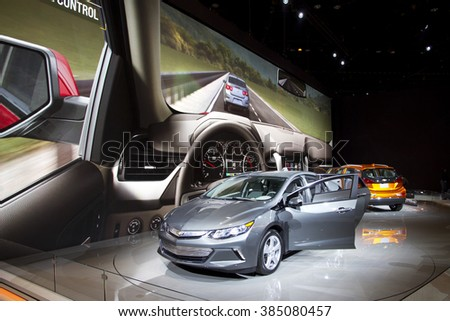 CHICAGO, IL - FEBRUARY 15: Chevrolet showroom at the annual International auto-show, February 15, 2016 in Chicago, IL - stock photo