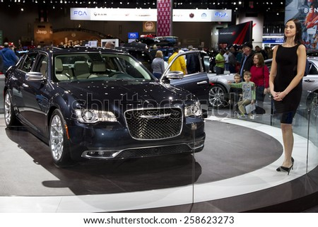 CHICAGO, IL - FEBRUARY 15: Chrysler 300 at the annual International auto-show, February 15, 2015 in Chicago, IL - stock photo