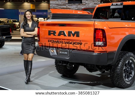 CHICAGO, IL - FEBRUARY 15: Dodge RAM pickup truck at the annual International auto-show, February 15, 2016 in Chicago, IL - stock photo