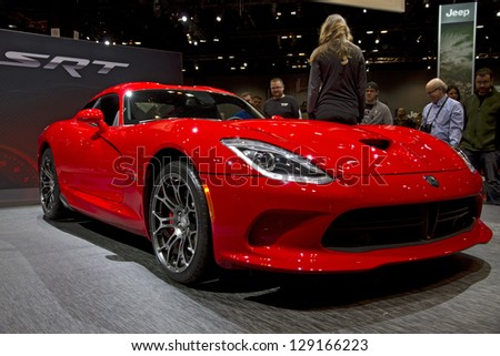 CHICAGO, IL - FEBRUARY 16: Dodge Viper 2013 car at the annual International auto-show, February 16, 2013 in Chicago, IL - stock photo