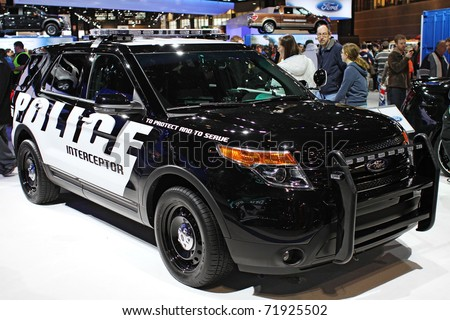 CHICAGO, IL - FEBRUARY 20: Ford Explorer as Police Interceptor on display at the International auto-show on February 20, 2011 in Chicago, IL - stock photo