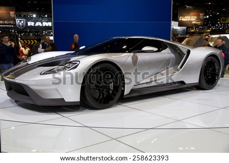 CHICAGO, IL - FEBRUARY 15: FORD GT at the annual International auto-show, February 15, 2015 in Chicago, IL - stock photo