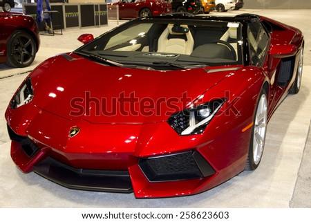 CHICAGO, IL - FEBRUARY 15: Lamborghini Aventador at the annual International auto-show, February 15, 2015 in Chicago, IL - stock photo