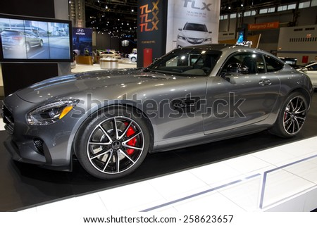 CHICAGO, IL - FEBRUARY 15: 2016 MERCEDES-AMG GT at the annual International auto-show, February 15, 2015 in Chicago, IL - stock photo
