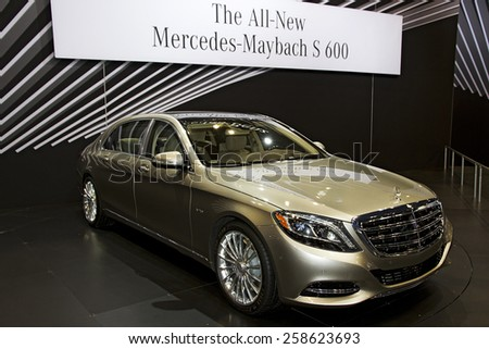 CHICAGO, IL - FEBRUARY 15: 2016 Mercedes-Benz S-Class Maybach at the annual International auto-show, February 15, 2015 in Chicago, IL - stock photo