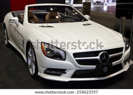 CHICAGO, IL - FEBRUARY 15: MERCEDES-BENZ SLK at the annual International auto-show, February 15, 2015 in Chicago, IL - stock photo