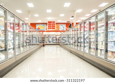 Chicago, IL July 26: Frozen food section of a supermarket in Chicago on July 26, 2015. Consumption of fresh produce is on the rise due to growing health awareness - stock photo