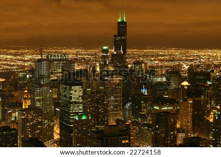 Chicago, IL - Mar 15: Skyline in Chicago on St. Patrick's day, on Mar 15, 2008 in Chicago, IL - stock photo
