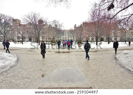 CHICAGO, IL -1 MARCH 2015- Editorial: The Gothic campus of the University of Chicago, which counts close to 15,000 undergraduate and graduate students, is located in the Hyde Park neighborhood. - stock photo