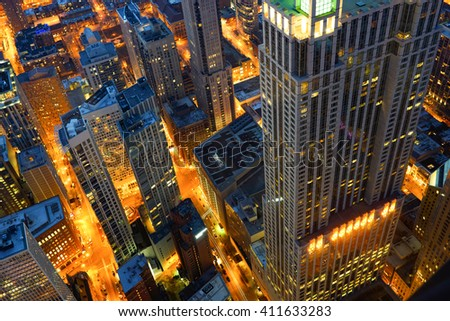 CHICAGO, IL - MARCH 28, 2016: view of Chicago from John Hancock Center. Chicago is a major city in the United States of America - stock photo